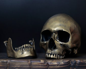 The Golden One - Distressed Gold Full Scale Life Size Realistic Human Skull Replica with Removable Jaw / Art / Ornament / Decor