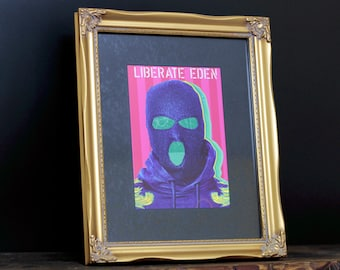 Rebel - Gold Ornate Framed Giclée Fine Art Print - / Wall Art / Home Decor / Liberation Front / Balaclava / Portrait / Pop Art / Poster