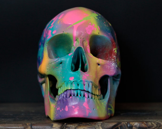 Featured listing image: Terribles- Life Sized Matte Rainbow Paint Splash Painted Human Skull / Skull Art / Ornaments / Home Decor / Graffiti / Modern Art