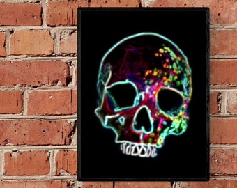 Liquet - Neon Lights Rainbow Skull A4 Fine Art Print - Skull / Tattoo Shop / Wall / Decor / Hallway / Office / Room
