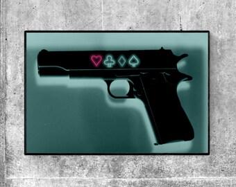"Love or Lose - Neon 1911 Symbolic Gun 12 x 8"" Fine Art Print - Pistol / Heart / Wall / Decor / Hallway / Office / Writing"