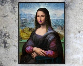 Mona Angelisa - Da Vinci Reimagined Small - Large Fine Art Portrait Print / Wall Art / Home Decor / Hallway / Office / Room / Tattoo Shop