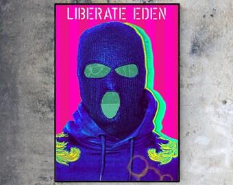 Rebel - Giclée Fine Art Print - A4 - A3 - A2 - / Shop / Wall / Home Decor / Liberation Front / Balaclava / Portrait / Pop Art / Poster