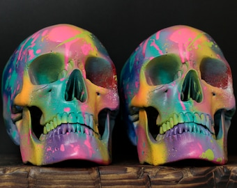 Les Adulte Terribles - Pair of Life Sized Rainbow Paint Splash Painted Human Skulls / Art / Contemporary / Home Decor / Book Ends / Modern