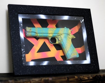 Love or Lose II - Framed 3D Wall Art Mounted 1911 Replica Pistol Gun Ornament / Home Decor / Wall Hanging / Modern Art / Graffiti