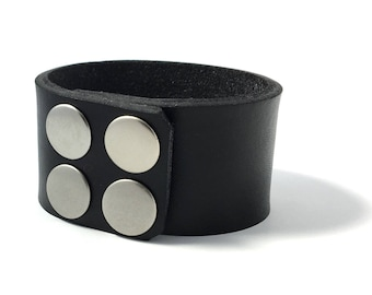 Artisan Handmade Accessory | Minimalist Black Vegan Friendly Leather Silver Snapper Cuff Bracelet