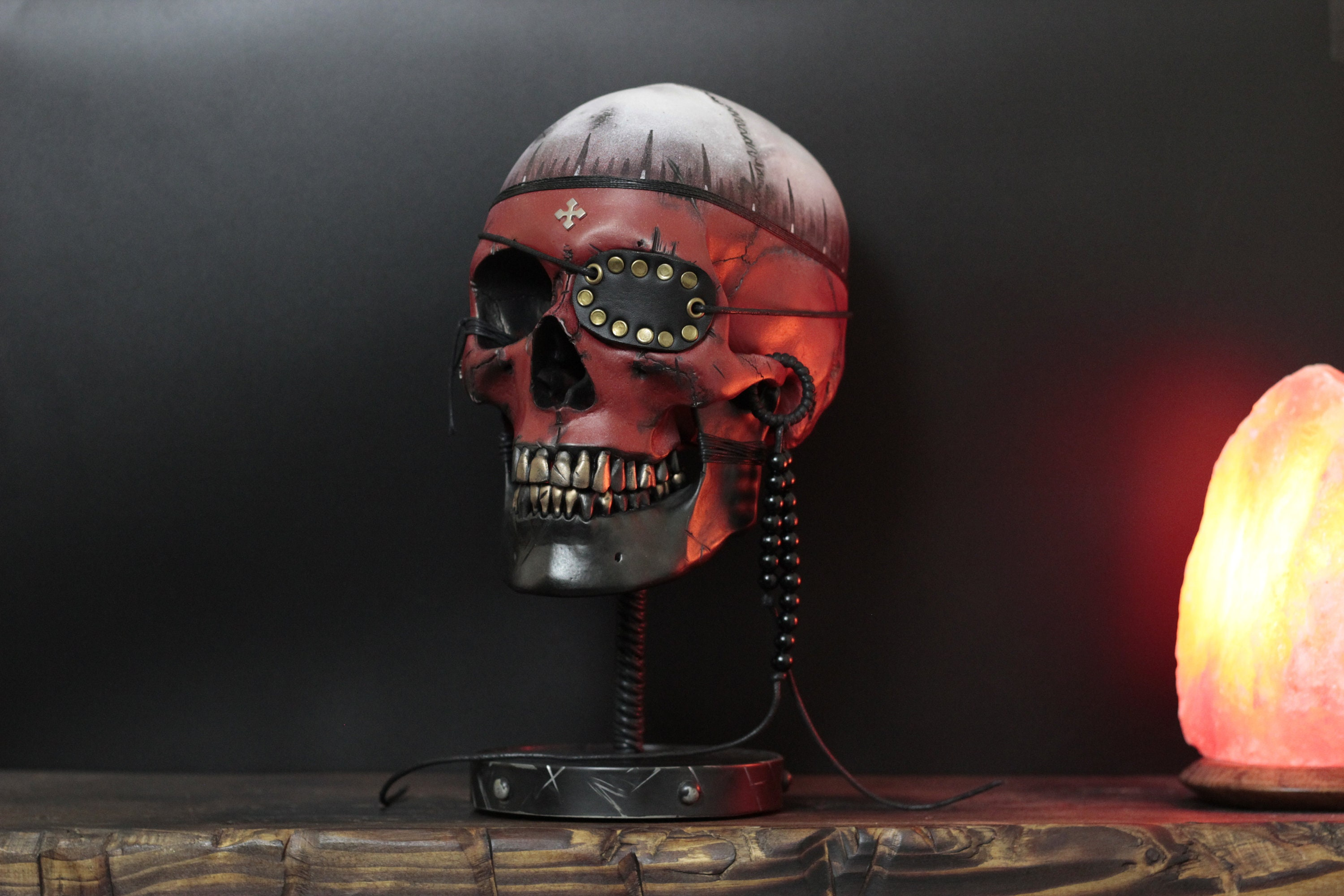 the mind pirate distressed life size human skull bust with metal
