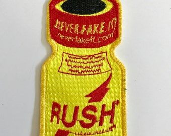 Rush poppers sew on embroidered patch