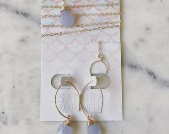 Lavender Chalcedony 14K Gold Filled Lariat Necklace with Matching Earrings