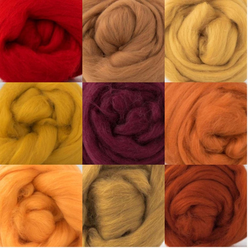 19micron wool tops Autumn colours 450gm Wool roving bundle 9 colours