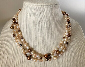 Champagne Freshwater Pearl And Antiqued Brass Chain Multi Strand Statement Necklace