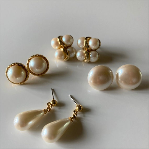 Vintage Faux Pearl Earrings, 4 Pairs Gold Tone Fa… - image 1