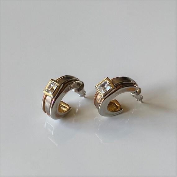 Vintage NAPIER Half Hoop Earrings, Princess Cut CZ