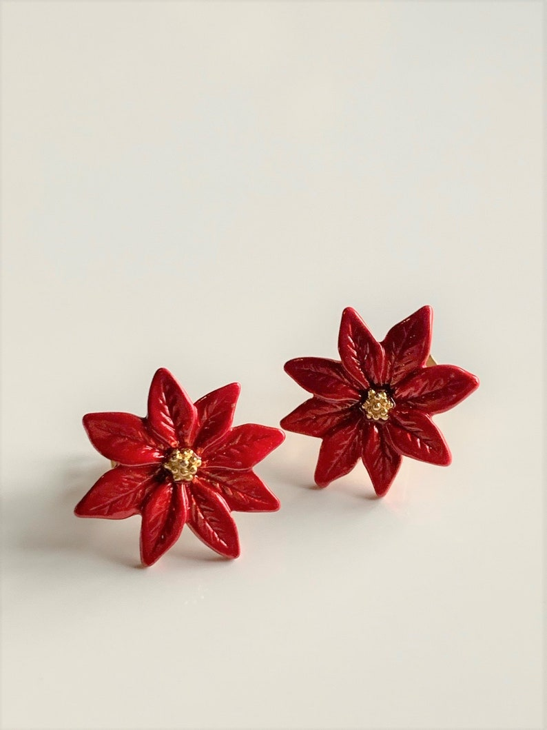 """Party 3 1//4/"""" Red Glitter Poinsettia Silk Flower Brooch Pin Christmas Holiday"""