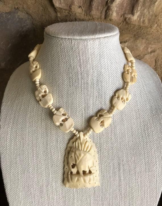 Vintage Carved Bone Elephant Necklace Vintage Hand Carved Etsy
