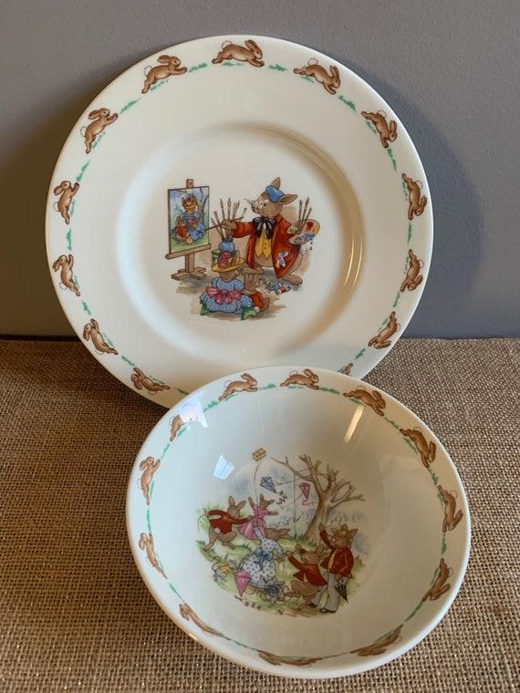 Vintage Royal Doulton BUNNYKINS Fine Bone China Bowl Plate Set Nursery Decor Bunnykins Portrait Painter Plate Bunnykins Flying Kite Bowl