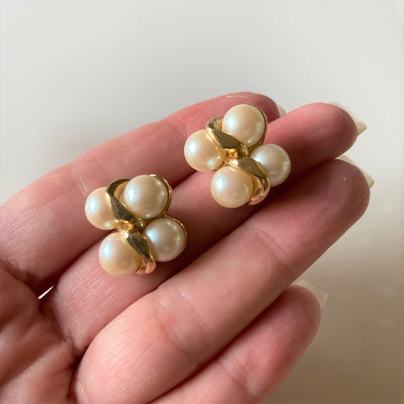 Vintage Faux Pearl Earrings, 4 Pairs Gold Tone Fa… - image 2