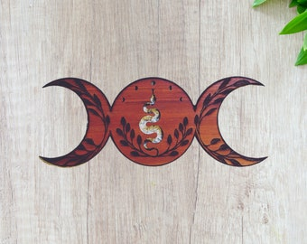 Wood Triple Goddess Moon Wall Decor With Moon Phase, Snake, and Floral Crescent Moon Wall Hanging Witchy Decor, Alter Decoration