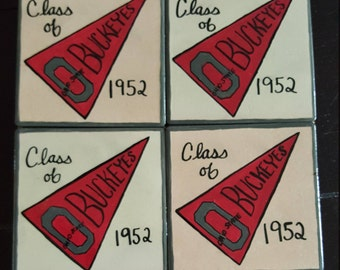Ohio State Buckeyes Ceramic Coaster Set of 4 - Handmade and able to CUSTOMIZE with your Favorite Sports Team