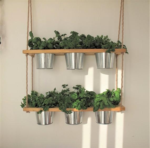Hanging Shelf, Kitchen Herb Garden, Windowsill Herb and Spice Garden,  Indoor planter, Rope and Wood Shelf,Timber Shelves,Bathroom,Bedroom,