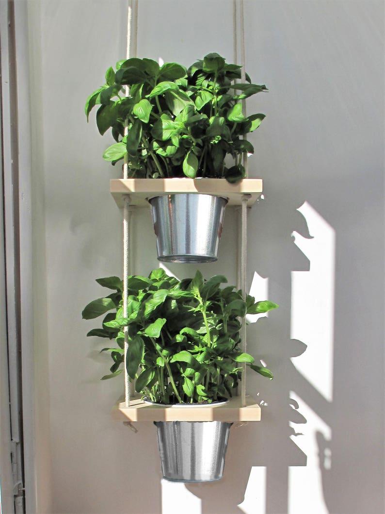 Hanging Herb Planter With Pots Kitchen Herb Garden Windowsill Herb And Spice Garden Indoor Planter House Plant