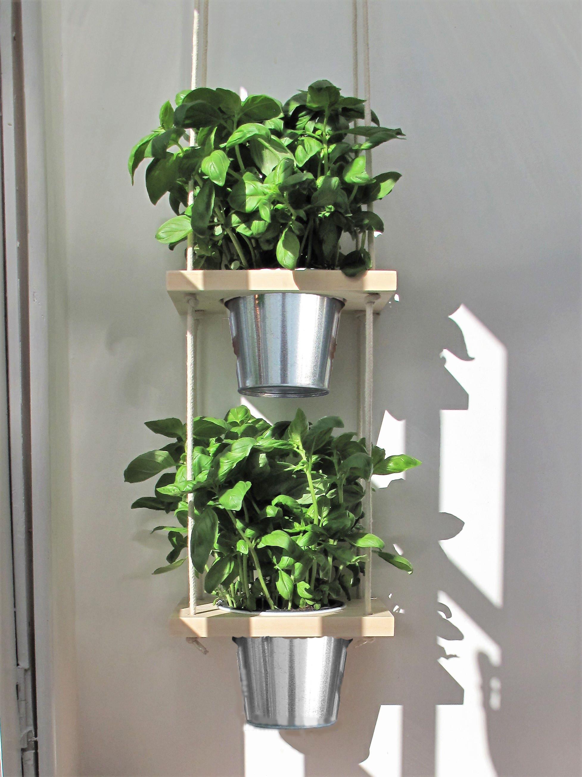 Hanging Herb Planter With Pots Kitchen Herb Garden Etsy