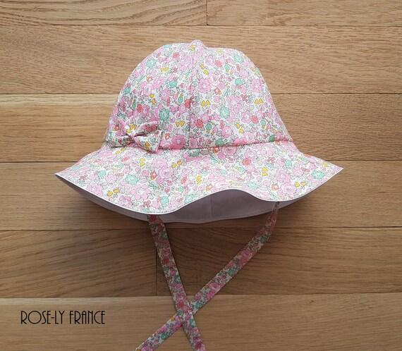Betsy Ann Pink Girls Summer Hat Liberty Linen Bonnet for Girls