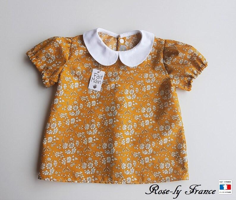 67a5b5d933c17 Chemise blouse bébé col claudine en liberty Capel Moutarde