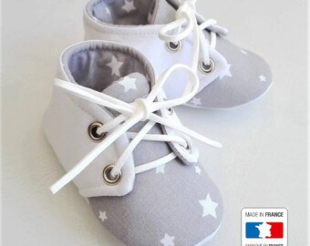 SALE! Gray cotton lace-up slippers white