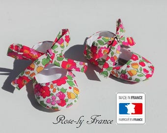 Red liberty Betsy S baby ballerina booties
