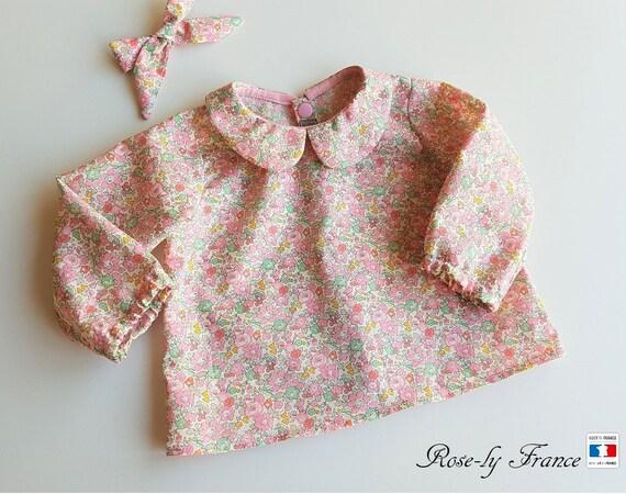 Chemise blouse bébé col claudine en liberty betsy Ann Rose clair