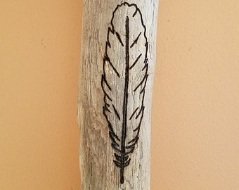 Feather Design Driftwood Art Wood Burned With Modern Simple Pyrography Rustic Chic Home Decor Wall Hanging One Of A Kind Burning Gift