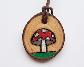 Mushroom Necklace Amanita Red with White Dots with Woodland Charm on Wood Burned Foraged Wood Slice Pendant with Adjustable Cord