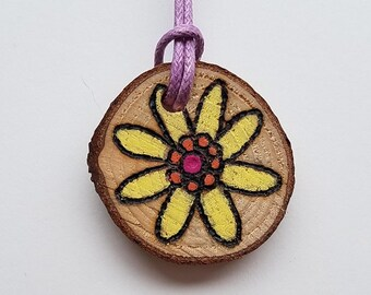 Cute Yellow Dahlia Floral Necklace in Boho Style with Wood Burned Flower on Foraged Wood Slice