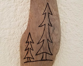 Driftwood Art with Simple Modern Wood Burning of Pine Trees