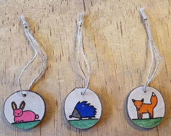 Wood Burned Woodland Animals Ornaments Set of 3 on Real Wood Slices