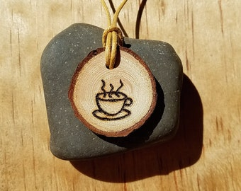 Coffee Lover Diffuser Necklace Handmade Real Wood, Tea Lover, Personal Diffuser, Wood Burned on Wooden Pendant for favorite Essential Oil