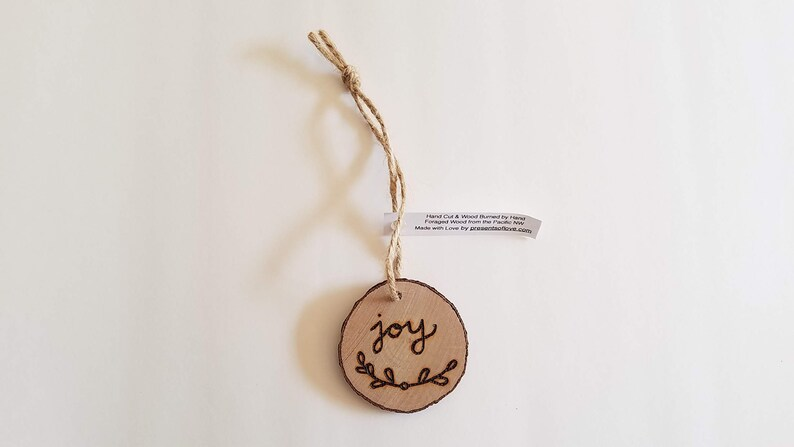 Joy Ornament Wooden Keepsake or Gift Tag Wood Burned on Real image 0