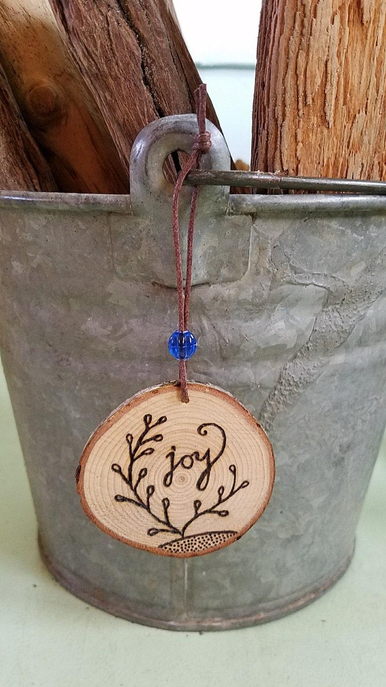 Joy Wooden Ornament with Wood Burning Art as Joyful Keepsake image 0