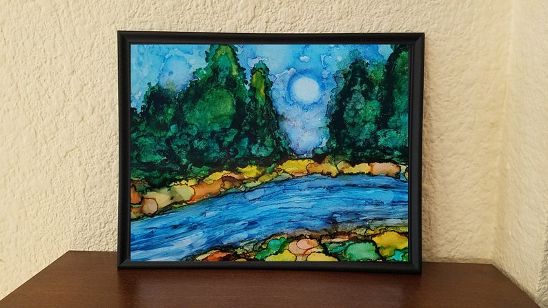 Forest Painting River in the Woods Art Print with Pine Trees image 0