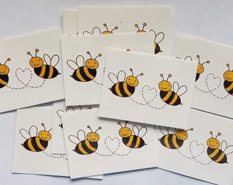 Bumblebee Honey Bees with Heart Temporary Tattoos 2 x 1.5