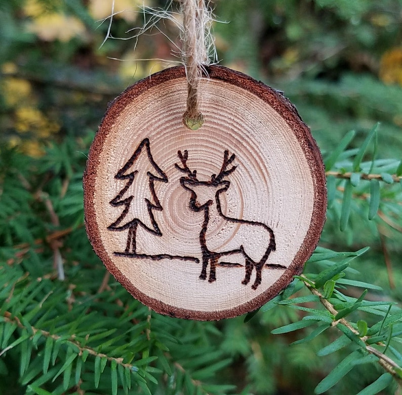 Deer with Tree Wooden Ornament with Wood Burning Pyrography image 0