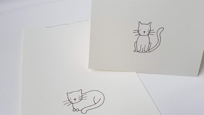 Cat Lovers Blank Greeting Card Set with Individually Hand image 0