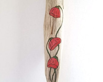 Red Flowers Wood Burned on Pacific NW Foraged Driftwood for Farmhouse Modern Rustic Floral Wall Art