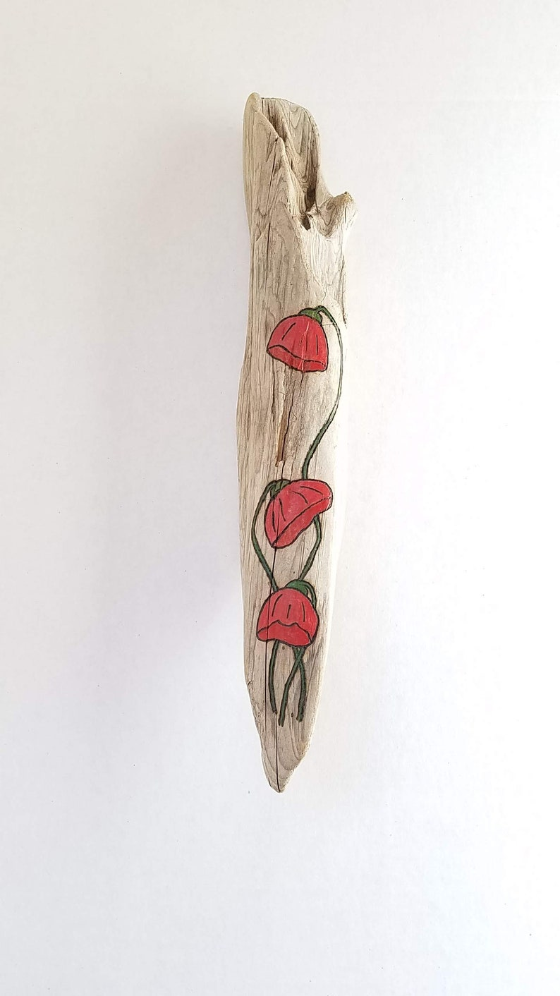 Red Flowers Wood Burned on Pacific NW Foraged Driftwood for image 0