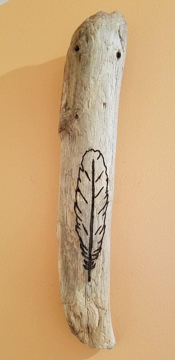 Feather Design Driftwood Art Wood Burned With Modern Simple