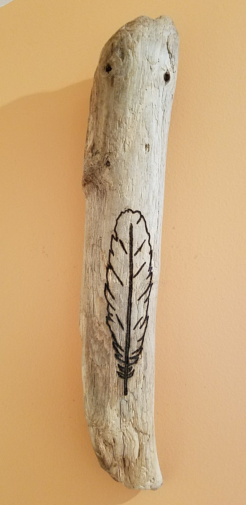 Feather Driftwood Art Wood Burning with Modern Simple image 0