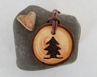 Pine Tree Wood Burned on Sustainable Wood Slice Pendant with Adjustable Necklace in Boho Style for Camping Gift and Tree huggers