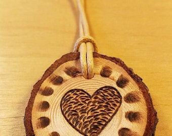 Wood Burning Heart Necklace on Foraged Wood Slice for 5th Anniversary Gift