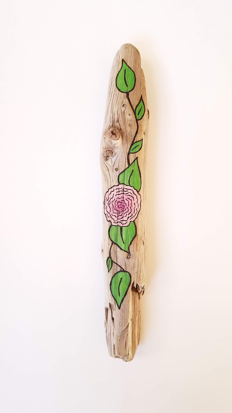 Floral Driftwood Art Farmhouse Style with Light Pink Flower image 0